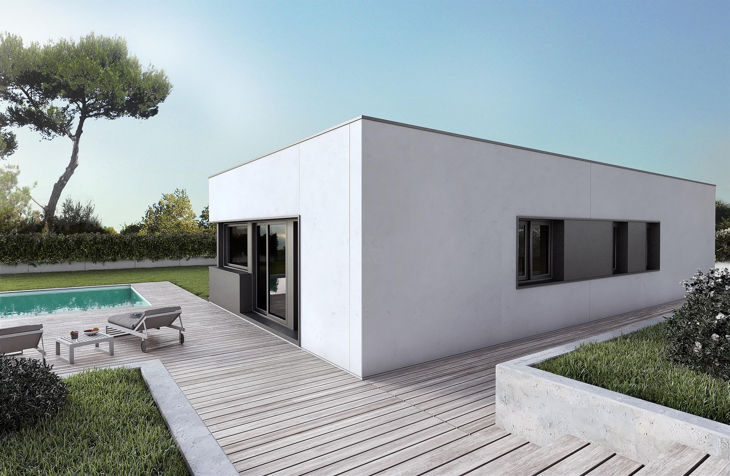 casa prefabricada moderna con 2 plantas y 3 dormitorios planos